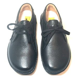 Birkenstock Black Leather 2-Eye Laced Footbed Shoe